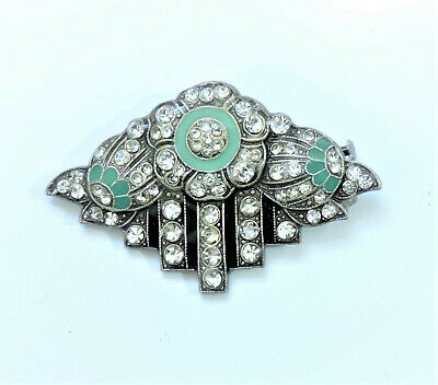 Art Deco Enamel & Rhinestone Brooch Pin  MY201013