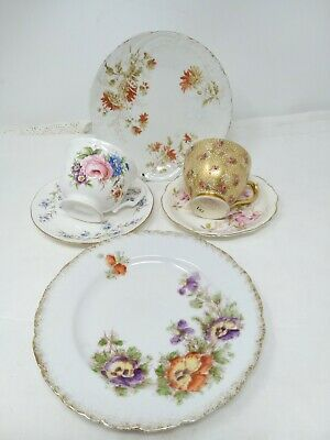2 X Very Pretty Vintage  Mismatched China Trios Cup Saucer Plate Tea For Two