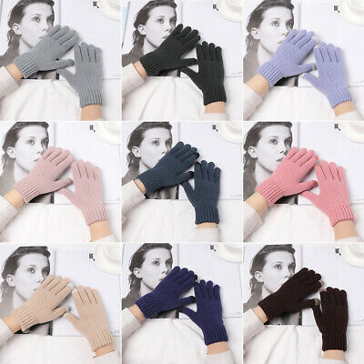 Soft Elastic Cute Touch Screen Mittens Knitted Gloves Full Finger Thicken Warm