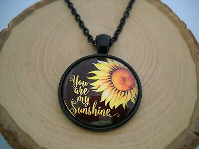 You are my Sunshine Sunflower Cabochon Glass Pendant with Black Chain Necklace