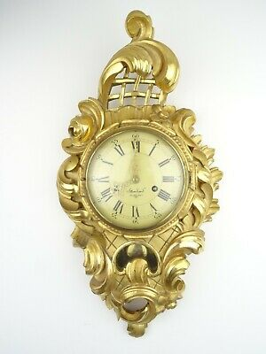 Swedish Vintage Antique Westerstrand Wall Clock Gustavian Gilt 8 day (Mora era)