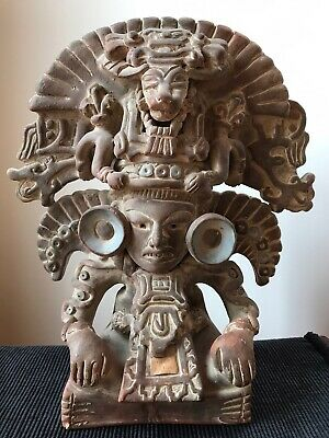 Vintage Mexican Pre-Columbian Reproduction Pottery Sculpture of Zapotec God