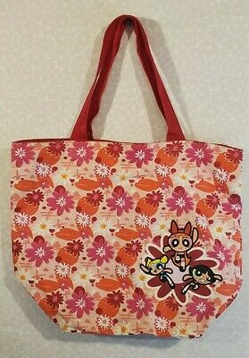 """POWERPUFF GIRLS Large Canvas Tote Bag PINK FLORAL Overnight Beach 19"""" x 15"""" x 8"""""""