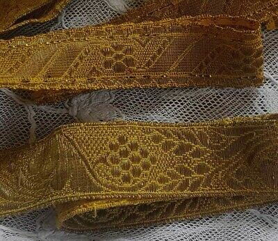 Large Lot of Gold Metal Thread Ecclesiastical Trims 15 Yrds +++  Darker Patina