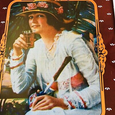 Vintage Rare Drink Coca Cola Tin Woman With Hat Drinking Out Of Coke Glass