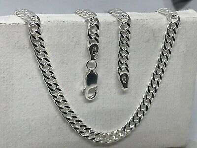 Solid Genuine 925 Sterling Silver Men&Woman 4mm Double Curb Link Chain Necklace