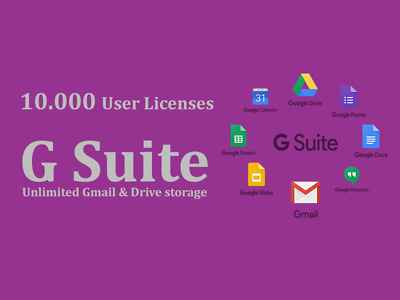Domain name with 10.000 users for Google apps Unlimited (G Suite Unlimited)