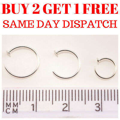 Sterling Silver Nose Ring Fake Nose Rings Hoop Lip Small Thin Piercing Open
