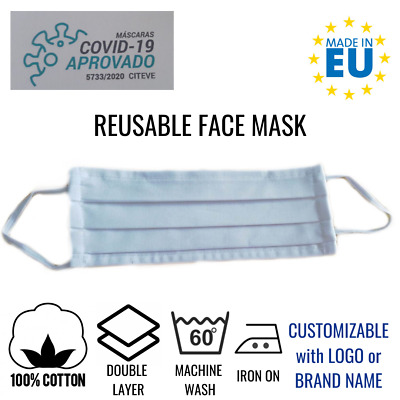 Cotton Face Mask Reusable Washable Mask Mouth White Double Layer Packs Adult UK