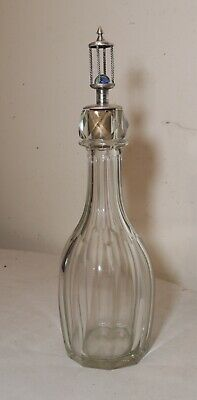 rare antique 1800's sterling silver cut crystal marble liquor decanter bottle .