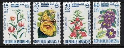 Indonesia 1966 - Flowers  - National Disaster Fund - Complete Set of 4 MUH
