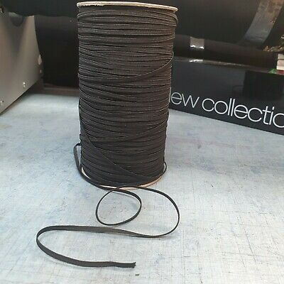 3MM Black Elastic Cord Flat Braid  Sewing Making RE USABLE FACE MASKS  NHS Gowns