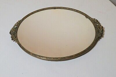 antique ornate Victorian ormolu bronze floral vanity jewelry oval mirror tray