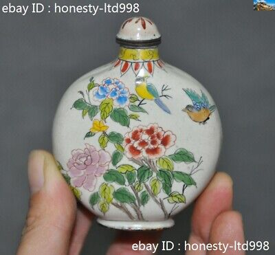Marked Old China 乾隆dynasty Pure Bronze Cloisonne Flower Bird Statue Snuff bottle