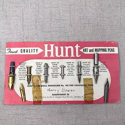 Vintage Hunt Crowquill Penholder 102 Art and Mapping Pen Tips on Card Lot of 8