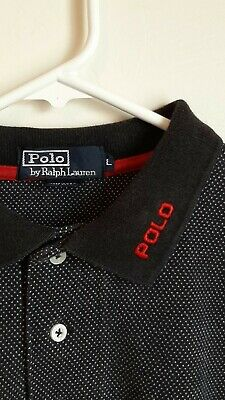 Vtg Polo Ralph Lauren Mens Large Long Sleeve Polka Dot Pull Over Spell Out