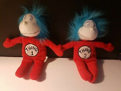 Dr Suess Cat In The Hat Thing 1 & 2 Plush Dolls Excellent Condition 11 Inch