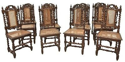 Antique Dining Chairs, French Henri II Style Carved Oak, Set of 12, 1800's!!