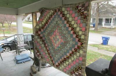 Vintage Patch Quilt 76 x 70 with Ties And Back