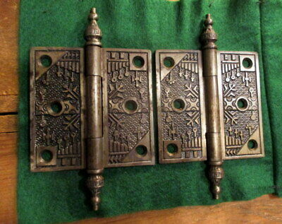Pair Reading Hardware Ornate Windsor Door Hinges 3-1/2""