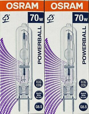 2 x Osram Powerball HCI-TC 70W/942 Cool White Metal Halide Lamps Globes G8.5