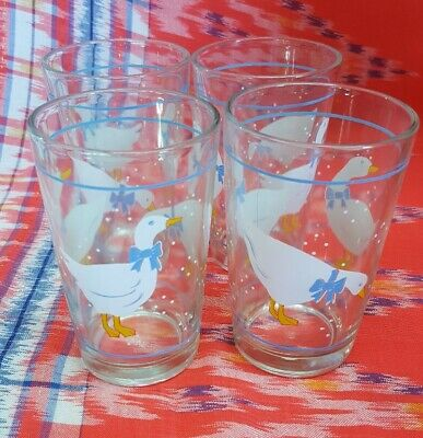 Vintage Kitsch Retro 1980s Duck Goose Geese Blue Ribbon Drinking  Glasses x 4