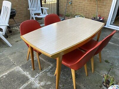 Vintage Retro Benchairs Teak & Formica Kitchen Dining Set Table & 4 Chairs RARE!