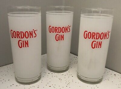 """SET of 3 """"GORDON'S GIN"""" 6-inch Highball Frosted Glasses ~ Great Unique Gift!"""