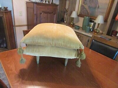 "Mid-Century Modern Stack-able Pillow Stool With Mustard Color Pillows 20"" Square"