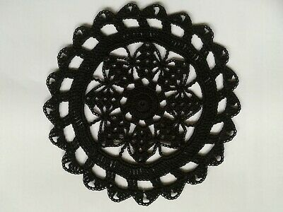 """Crochet Cotton 7"""" Doily / Coaster in BLACK for Table or Dreamcatcher"""
