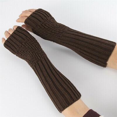 Thick Warm Arm Warmers Candy Color Fingerless  Mittens Long Knitted Gloves