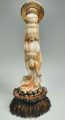 Antique 1920s Chinese Hand-Carved Coral and 14K Gold Figure With Wood Stand