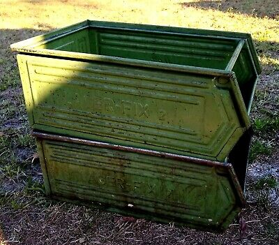 10 Vintage Metal Parts Bins Stacking Storage Stack Nesting Box Industrial Décor
