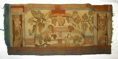 A Large Antique Tapestry Fragment w/ Columns & Plants