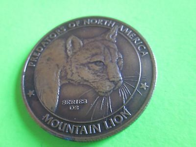 """Brass Coin of """"Predators of North America"""" Mountain Lion NA Hunting Club 1 1/2"""""""