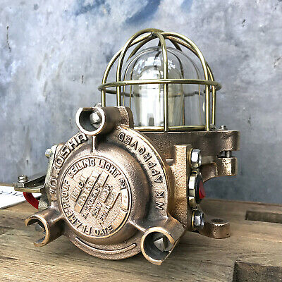 Vintage Industrial Table Lamp - Cast Bronze, Brass Cage & Glass Dome Edison Bulb