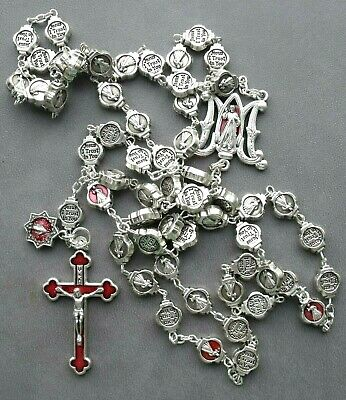 New Divine Mercy Jesus I Trust in You Miraculous Medal Red Enamel Cross Rosary