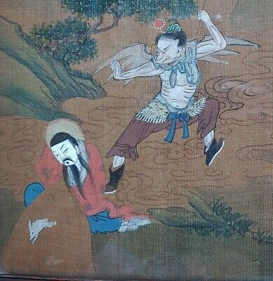 19thC 1800's Antique CHINESE PAINTING ON OAK WOOD PANEL in Orig Handcarved Frame