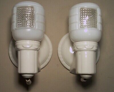 Antique Porcelain Sconce Light Wall Bathroom Vtg Shade Pair 2 Rewired USA #H65