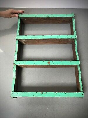 Antique Vintage Indian Wooden Shelving Unit. Art Deco, Vibrant Jade & Waxed Teak