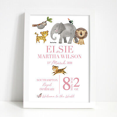Personalised Animal Print New Baby Girl Boy New Born Christening Gifts