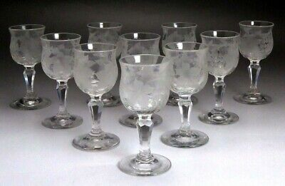 c1870 set 10 American Cut & Frosted Hand Blown Grape Cordial Glasses
