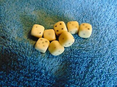 Lot of 8 Old Antique 1/4 Inch Authentic Bone Playing Dice, Well Used Hand Carved