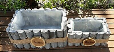 Set Of 2 Rectangle Wooden Planter, Plastic Lined, Grey White Washed, Garden