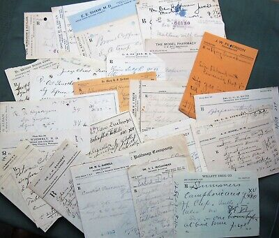 Doctor Handwritten Rx Drug Store Prescription Forms 1890s-1920s (lot of 38)