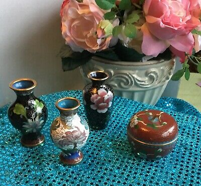"Vintage Cloisonne Mauve Apple Trinket Box, 3 beautiful Vases 3 1/4"" Tall  Lot"