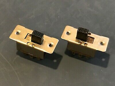 TWO - SATO ON-ON (DPDT) Mini Metal Mount Slide Switches - NOS