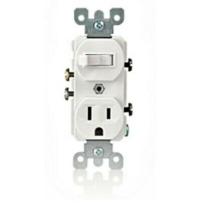 Leviton, #5225-WSP, Combination Switch & Receptacle, White, New