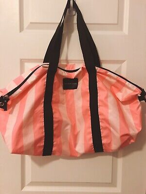 Vintage Victoria Secret Pink & White Striped Large Duffel Bag