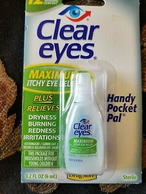 Clear Eyes Itchy Eye Relief Eye Drops Maximum 0.2 oz Redness Dryness 12 Hour